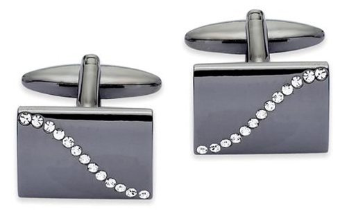 Code Red Base Metal Rhodium And Black Plating And Clear Crystals Cufflinks