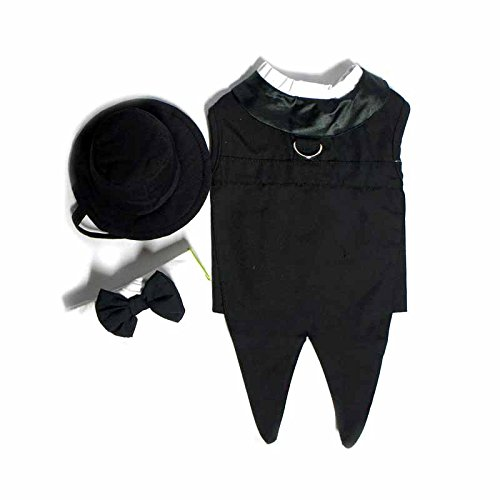 Doggie Design Black Formal Tuxedo Dog Harness with Tails, in Size Small (Chest 13-16 Neck 10-13 - Pets weighting 6-10lbs)