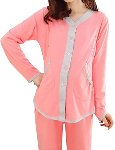 Women Elegant Long Sleeve Nursing Loungewear Maternity Pajamas Set XL