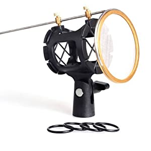 Water & Wood New C-2 Mic Suspension Shock Mount Stand Holder Clip Pop Filter for Microphone Studio