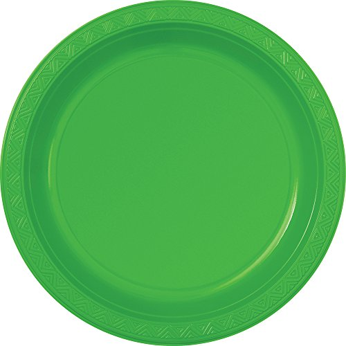 "10"" Plastic Lime Green Dinner Plates, 6ct"