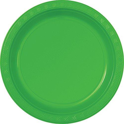 "10"" Plastic Lime Green Dinner Plates, 6ct"