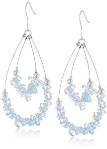 Sterling Silver and Blue Quartz 2-Row Swing French Wire Earrings