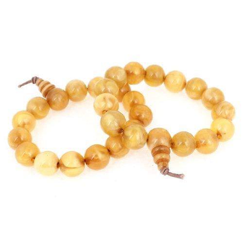 2pcs Pale Yellow Round Plastic 15 Beads Linked Elastic Prayer Bracelet Bangle for Unisex