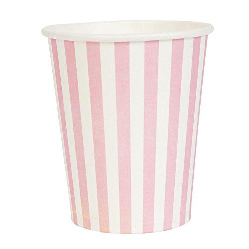 Marque :  clayre eef & 62877P gobelet en carton jetable rayures rose, blanc (lot de 10) :  env. 8 cm