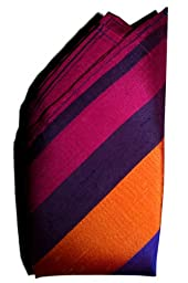 Merlin Stripes Silk Pocket Square, 100% Silk - by Royal Silk