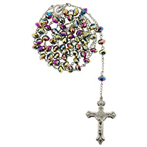 Rainbow Crystal Rosary with Faceted Rondell Beads in 8x6mm - 28'' Necklace - 21'' Overall Length