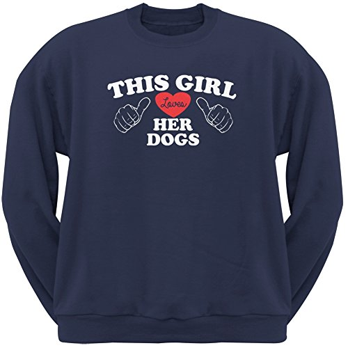 This Girl Loves Her Dogs Navy Adult Crew Neck Sweatshirt - Small
