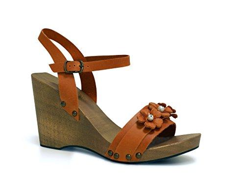Sandalo zeppa in legno e pelle arancione fatto a mano - Codice modello: 090 ARANCIONE - Taglia: 37 IT