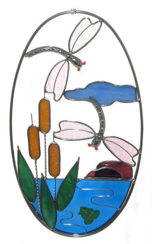 Dragonfly and Cattails Stained Glass Oval