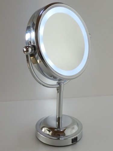 LED ライト 拡大鏡 付き 両面 スタンドミラー
