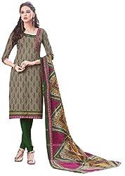 PADMiNi Ethnicwear Women's Dress Material Grey Free Size