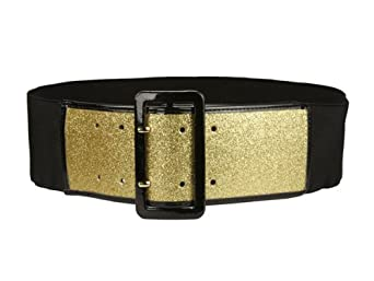 Ladies High Waist Patent Leather Trimmed Edge Glittering Fashion Stretch Belt Color: Gold Size: M/L 30-36