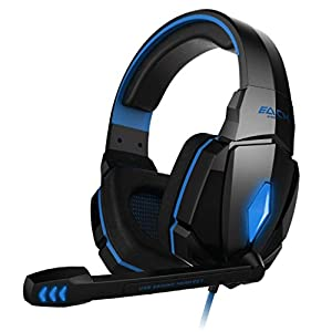 VersionTech Blue EACH G4000 Professional 3.5mm PC Gaming Stereo Noise Isolation Headset Headphone Earphones with Volume Control Microphone HiFi Driver For Laptop Computer