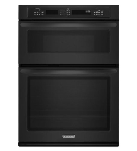 "Kitchenaid Kems309Bbl 30"" Combination Wall Oven With 5.0 Cu. Ft. True Convection Oven, 1.4 Cu. Ft. Microwave, 900 Cooking Watts, Hidden Bake Element And Glass Touch Controls"