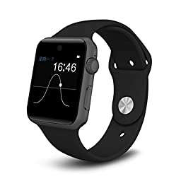 PowerLead SW25 Bluetooth Smart Watch Support SIM Card Smartphone Fitness Tracker For IOS Android-black color