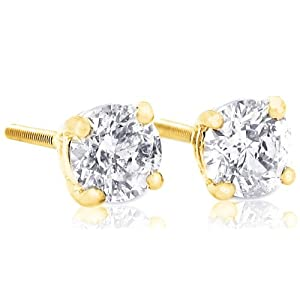 1 carat Brilliant Round Diamond Stud Earrings in 14Kt White Gold or Yellow Gold,Screwback (GH - I1)-Y