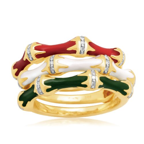 Sterling Silver Enamel Bamboo Diamond Stack Ring (1/10 cttw, I-J Color, I2-I3 Clarity), Size 7