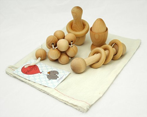 Intuitoys Montessori Inspired All Natural Wooden Baby Development and Discovery Set (Handmade in Usa) - 1