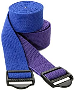 YogaAccessories (TM) 8' Cinch Buckle Cotton Yoga Strap - Purple