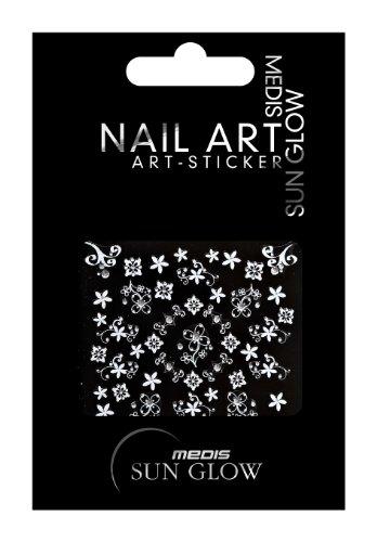 Medis Sun Glow Nagelsticker Ornamente Silber, Blumen/Floral-Motive, Silber mit Silber-Strass