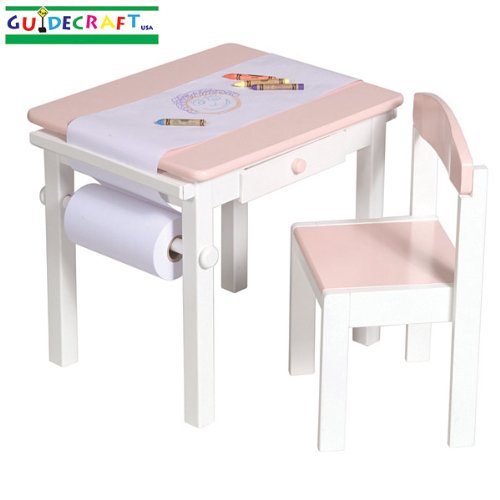 Guidecraft Art Table and Chair Set (Pink)