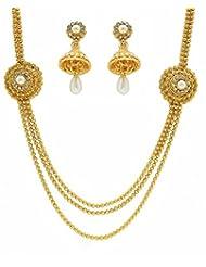 Zaveri Pearls Floral Three Layered Necklace Set-ZPFK3434