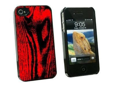 Wood Grain Red - Snap On Hard Protective Case for Apple iPhone 4 4S - Black