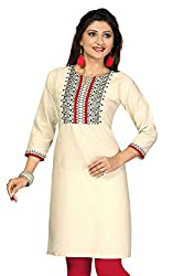 Karan Kurtis Womens Cotton Aline Kurta (Kurtis-0278-Xxl_Off-White)