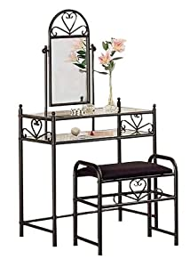 Ornate Metal Heart Vanity with Mirror & Bench - Set