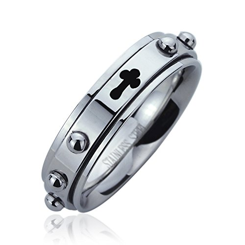 6Mm Stainless Steel Wedding Band Ring Cross Engraved Rosary Spinner Praying Ring (5 To 14) - Size: 10
