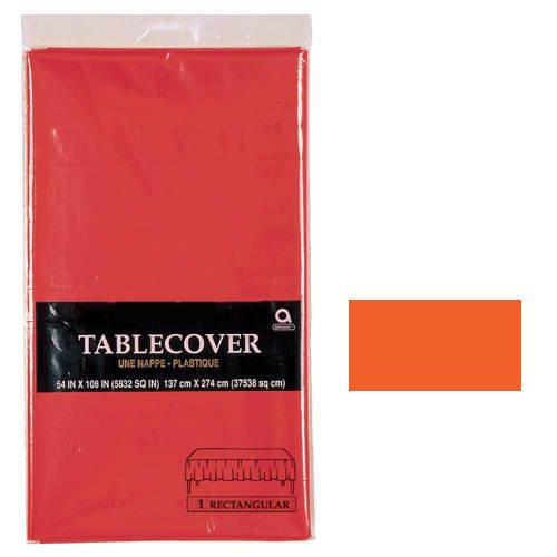 "Amscan Disposable 3-Ply Paper Table Cover, 53 x 108"", Orange Peel - 1"