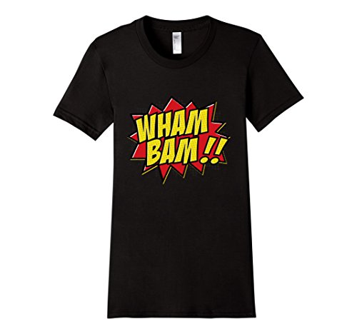 Womens-EmmaSaying-Wham-Bam-Pop-Art-Retro-Teen-Bazooka-Style-Shirt-Black