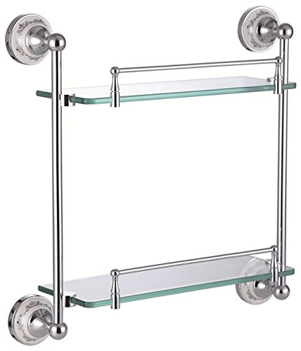 Superb TACCY Double Bathroom Glass Shelf with Two Chrome Silver Finish Brackets Brass made Toughened Safety Mounted