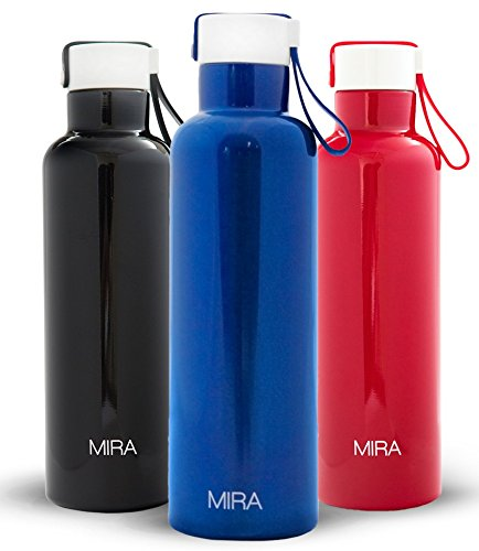 Stainless Steel Insulated Water Bottle, Double Wall, Best Vacuum Insulated Sports Bottle 17oz, BPA Free, Keeps Drinks Cold 24 Hours and Hot for 12 - Won't Leak or Sweat by MIRA - Blue (Aluminum Drinking Bottle compare prices)