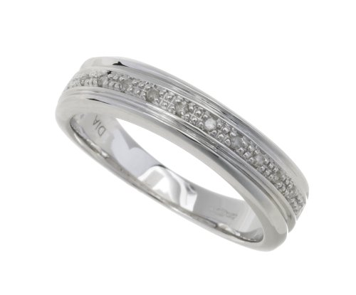 Ladies 9ct White Gold Diamond Wedding Ring