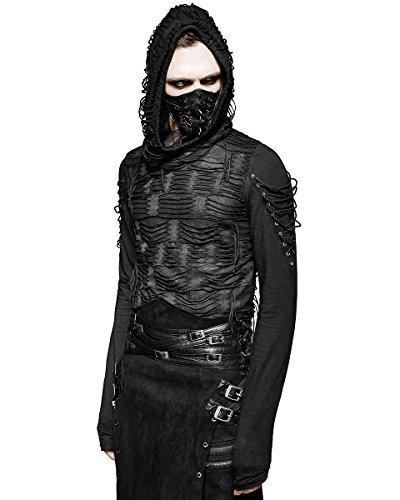 Punk Rave Decay Da Uomo Con Cappuccio Maglia Nera Gotico Dieselpunk Punk Dystopian Cappuccio - sintetico, Nero, 100% poliestere 5% spandex.\n\t\t\t\t 95% cotone, Uomo, Large / X-Large