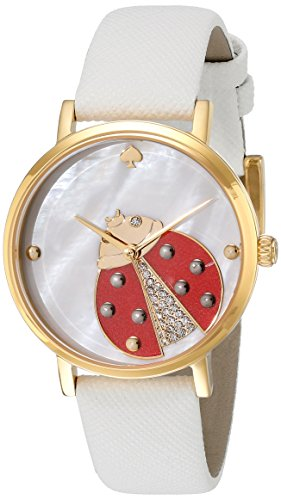 kate spade new york Women's 1YRU0747 Metro Stainless Steel Watch With White Leather Band