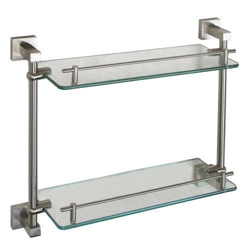 Barclay products jordyn double glass shelf brushed nickel Glass bathroom shelf brushed nickel