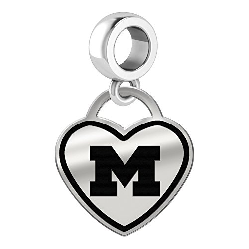 Michigan Wolverines Border Heart Dangle Charm Fits All Beaded Charm Bracelets