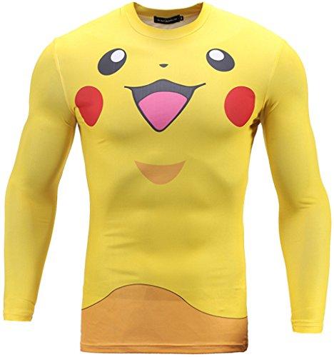 (ピゾフ)Pizoff メンズ Tシャツ ポケモン スポーツシャツ [UVカット・吸汗速乾] コンプレッションウェア おもしろ 3D立体 ファション 長袖ハイネックシャツY1733-06-M