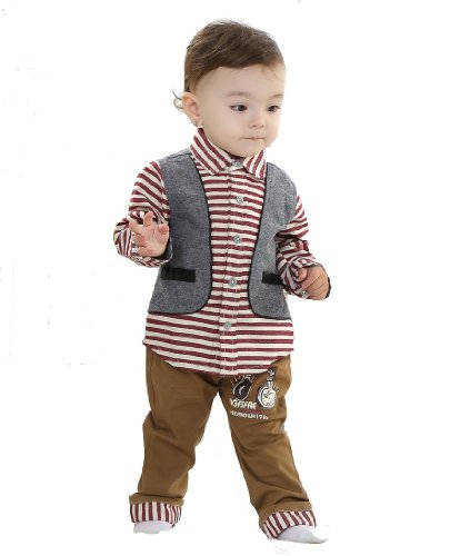 Baby Gentleman Suits Boys Striped Clothing Children'S Shirt + Pants Bct-341 (9-12 Months (80), Red)