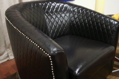 Baxton Studio Elenette Black Brown Faux Leather Club Chair