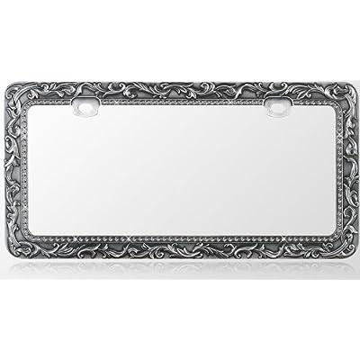 Amazon.com: Car Metal License Plate Frame - Vintage Lace Design - Gun