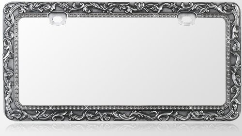 Car Metal License Plate Frame - Vintage Lace Design - Gun Metal & T-Smoke Diamond Crystals (License Plate Frame Gun Metal compare prices)
