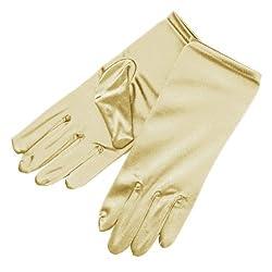 ZaZa Bridal Shiny Stretch Satin Dress Gloves Wrist Length 2BL-Ivory