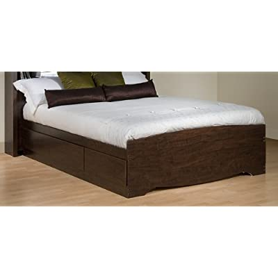 Size Full Mattress on Amazon Com  Full Size Platform Storage Bed In Espresso Finish   Prepac