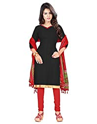 Lookslady Printed Black Cotton Jacuqard Dress Material