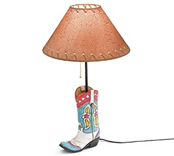 Western cowgirl boot table lamp great western room decor for our girls cowboy bedroom lamps for Western table lamps living room