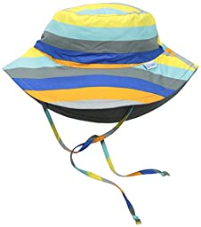 i play. Toddler Boys Reversible Bucket Sun Protection Hat, Gray/Multi Stripe, 2T/4T